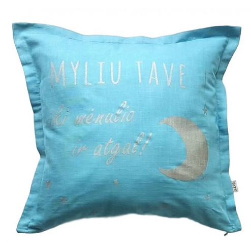 Interior pillow with print MYLIU TAVE, turquoise