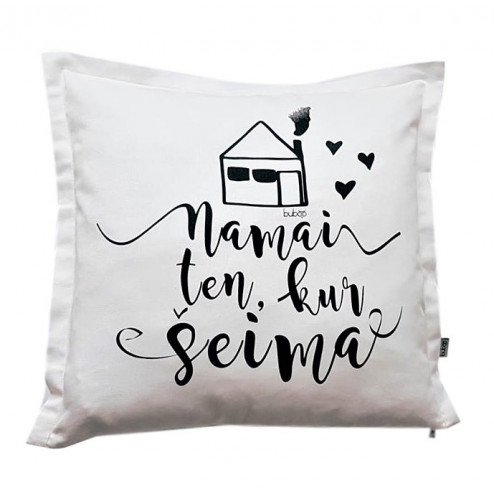 Interior pillow with print NAMAI KUR ŠEIMA, white