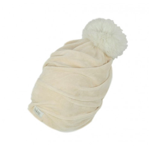 SCREW POMPOM double layered velour beanie milk with light fur pompom