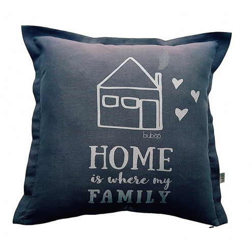 Interior pillow with print HOME WHERE FAMILY IS, dark grey