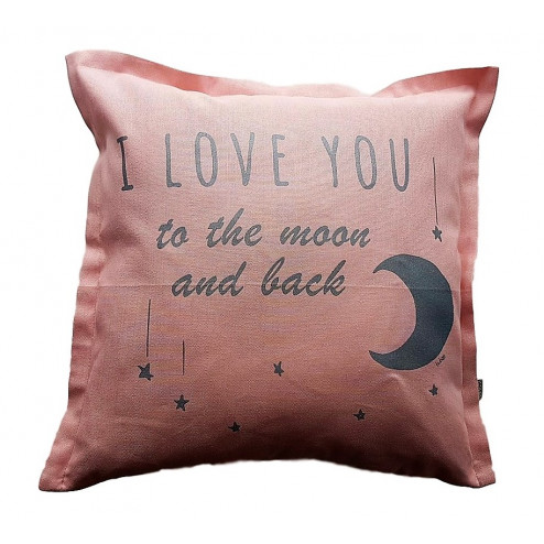 Interior pillow with print LOVE YOU TO THE MOON AND BACK, ash rose