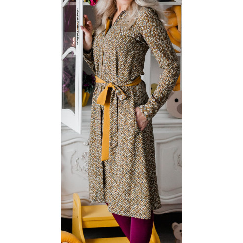 Impressive and stylish patterned LIMITED EDITION dress PARIS from capsule collection mustard knots
