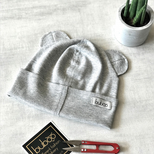 BEAR gray sparkling one layer beanie