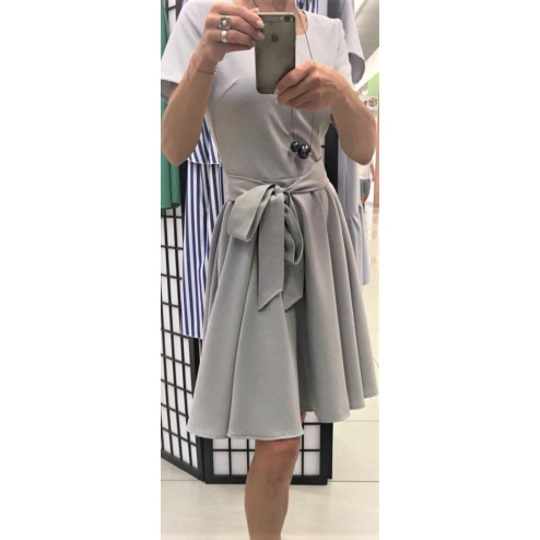 Blooming linenviscose female dress with strap HAVANA Grey