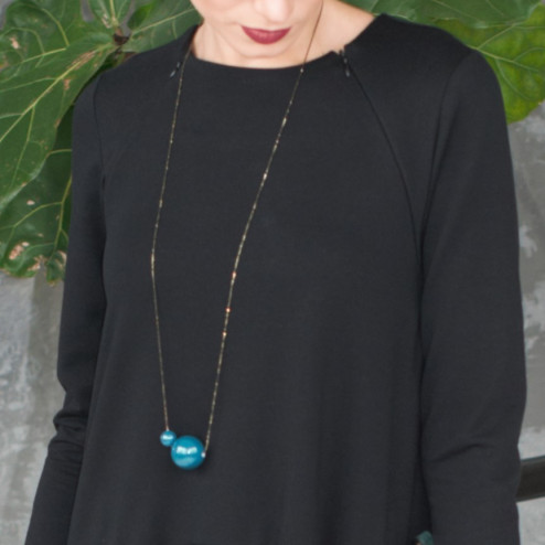 Female stylish elegant ceramic pendant on a luxurious chain MADEIRA emerald