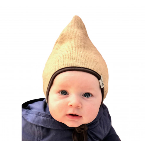 Kids double layered beanie with straps for autumn/winter DROP Sand