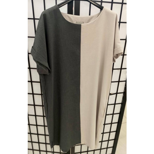 Woman dress with short sleeves grey / sand