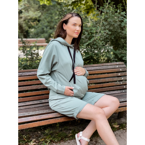 Woman stylish leisure jumper with hidden zippers on the sides BUBOO active, mint
