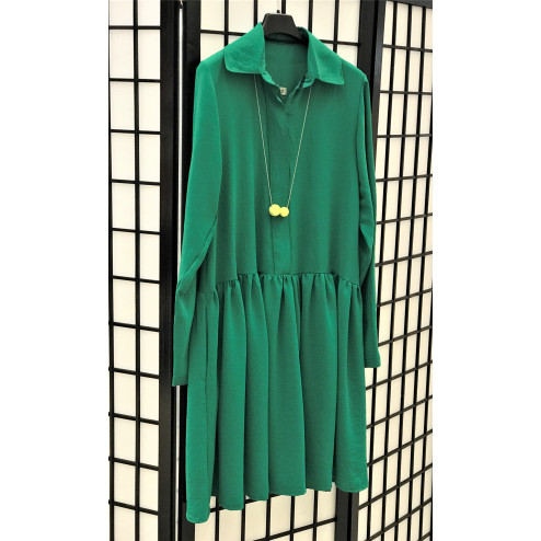 Female stylish dress LIMA Forest green with long sleeves
