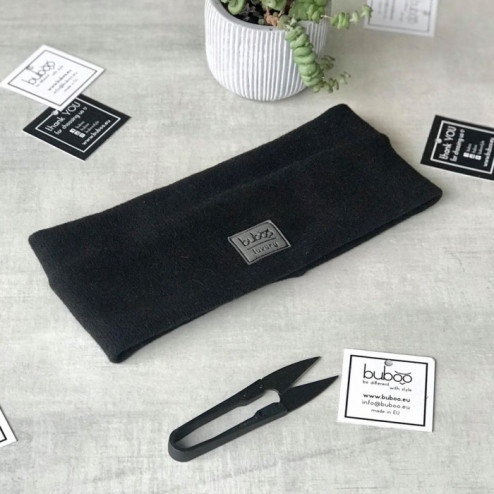 Woman headband for fall, winter, spring SIMPLE from BUBOOluxury, Black