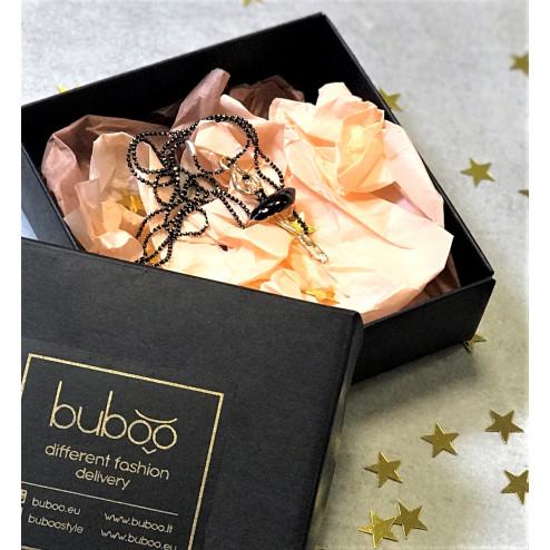 Girl's elegant pendant jewelry with a golden chain Ballerina, black
