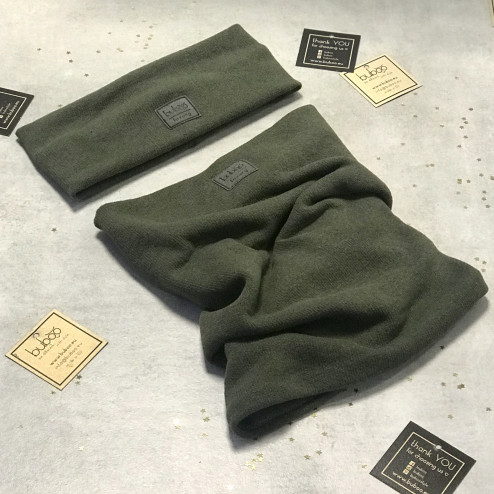 Kids snood scarf for fall, winter, spring BUBOO luxury - Chaki