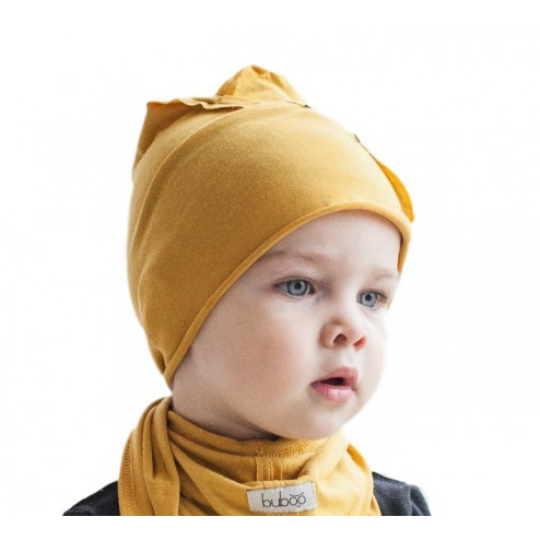 Kids thin stretchy cotton beanie UPSIDEDOWN - mustard
