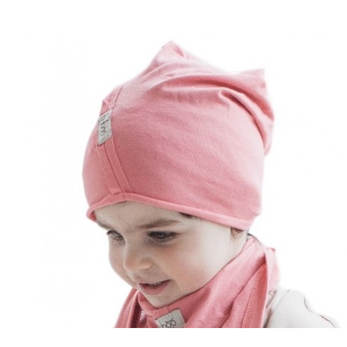 Kids thin stretchy cotton beanie UPSIDEDOWN - coral