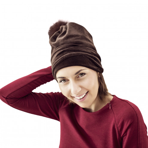 SCREW POMPOM double layered velour beanie mocha with fur pompom