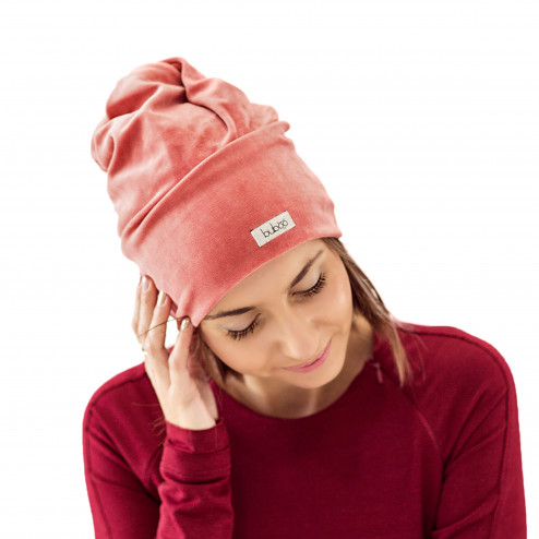 SCREWcz double layered velour beanie coral