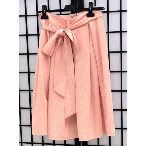 Impressive female linenviscose skirt TAHO baby pink with dots