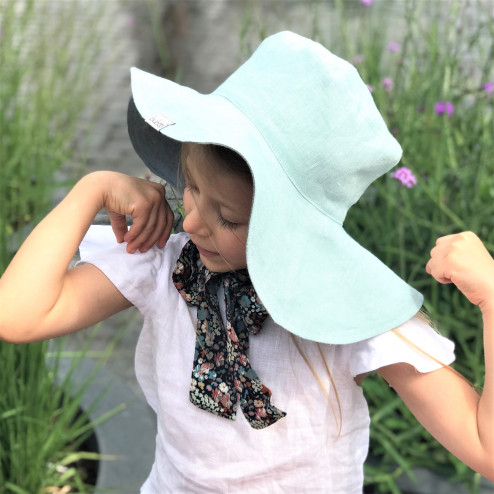 Impressive kids softened linen HAT with silky ribbons Mint