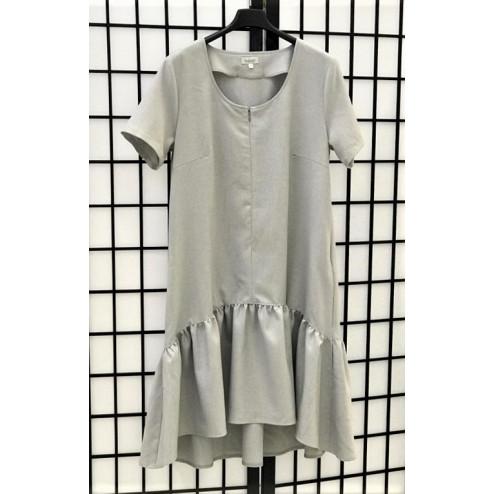 Impressive linenviscose female dress with strap LISABONA Grey