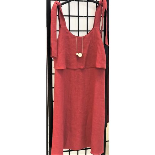 Impressive soften linen female dress SANTORINI raspberry