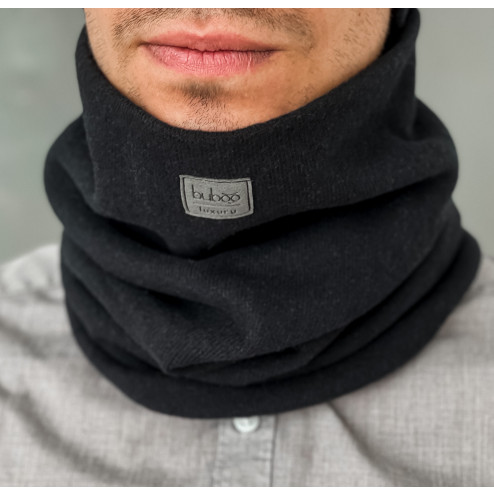Stylish man snood scarf for spring fall or winter - Black