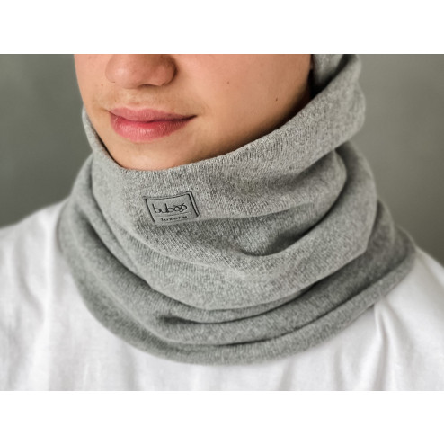 Stylish man snood scarf for spring fall or winter - Grey