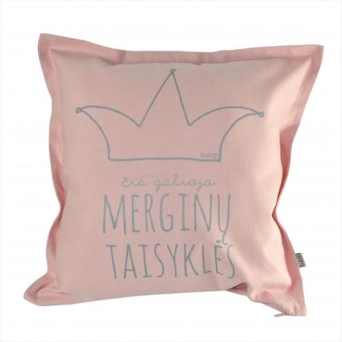 Interior pillow with print ČIA GALIOJA MERGINŲ TAISYKLĖS, ash rose