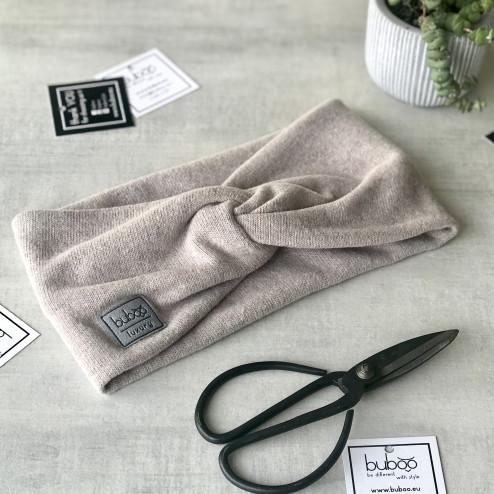 Stylish woman headband for spring autumn or winter, Latte