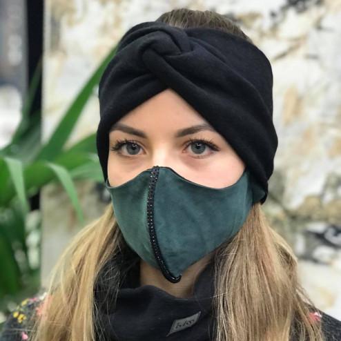 Luxurious fancy female face mask, Green