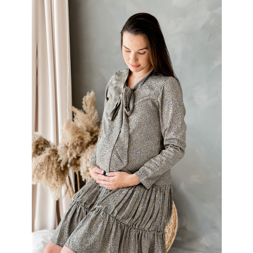 Woman dress with long sleeves WOW, grey leopard