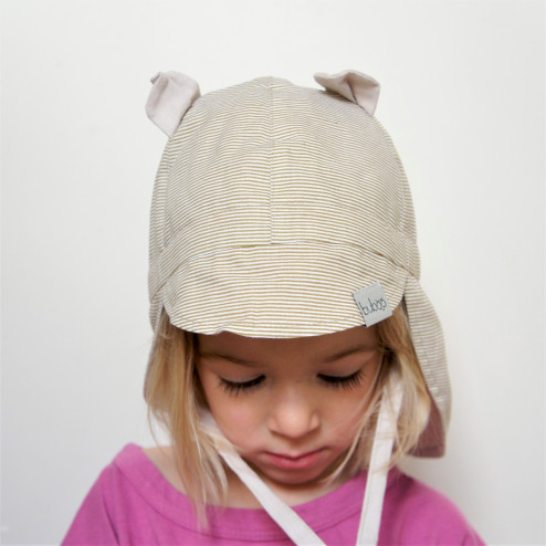 BEAR summer kids beanie with spout, laces and neck protection (100% cotton) - brown stripes