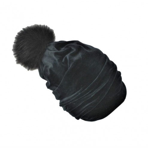 SCREW POMPOM double layered velour beanie charcoal with fur pompom