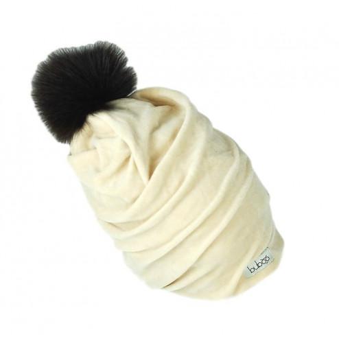 SCREW POMPOM double layered velour beanie milk with dark fur pompom