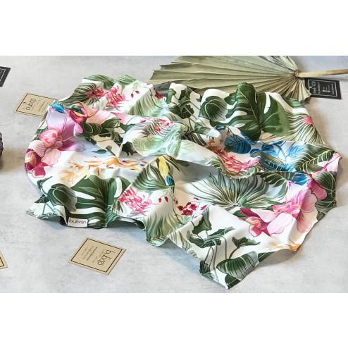 Woman's silk/viscose scarf BRIGHT FLOWER GARDEN