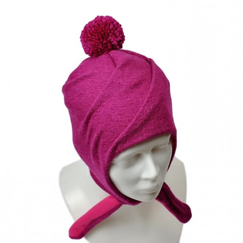 POMPOM winter double layered wool beanie raspberry