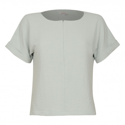 Female stylish viscose blouse TAHO with short sleeves and hidden zipper in the front, mint