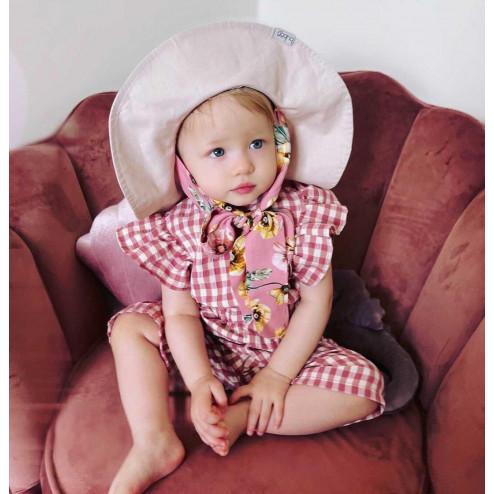 Impressive kids cotton HAT with pink silky ribbons, blush powder