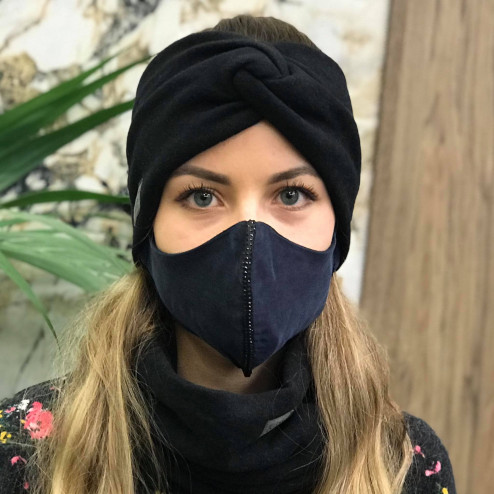 Luxurious fancy female face mask, Dark blue with shiny strip
