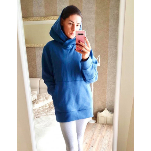 Stylish woman sweater with fluff, blue