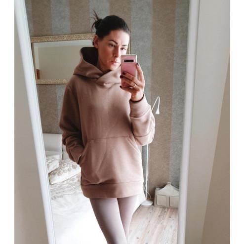 Stylish woman sweater with fluff, latte