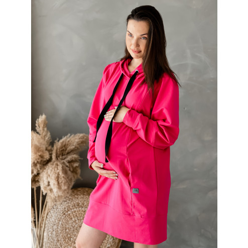 Leisure dress / tunic hidden zipper in the front BUBOO active MAMA, bright pink (watermelon)