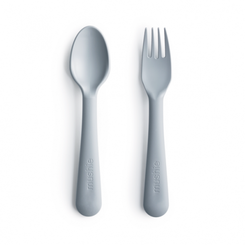 Mushie Kids Fork & Spoon Set, Cloud