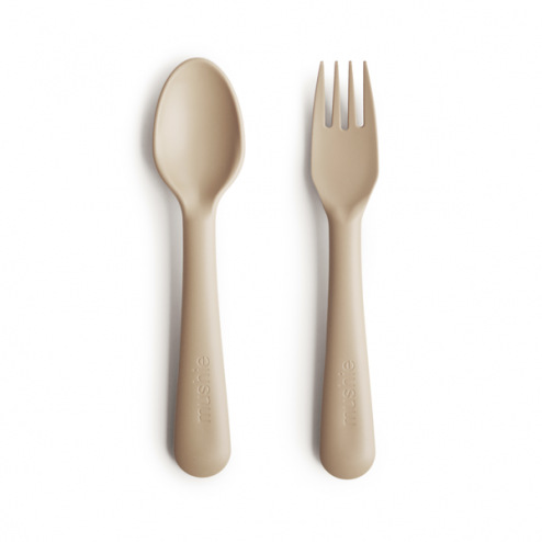 Mushie Kids Fork & Spoon Set, Vanilla
