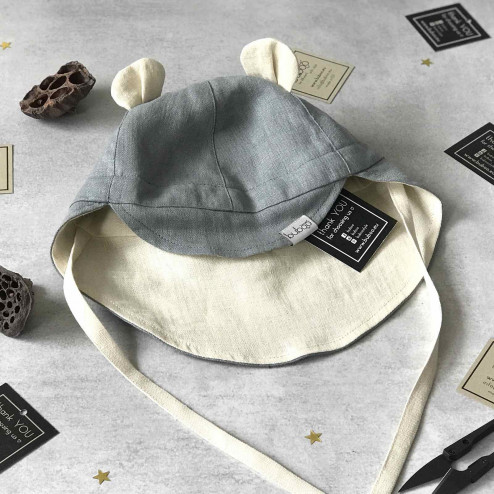 Summer kids beanie with visor, laces and neck protection (softened linen) - grey