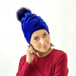 SCREW POMPOM double layered velour beanie corn flower with fur pompom