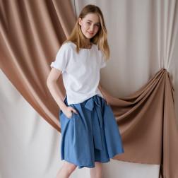 Impressive female linen/viscose blue skirt TAHO