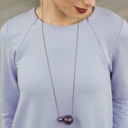 Female stylish elegant ceramic pendant on a luxurious chain MADEIRA eggplant