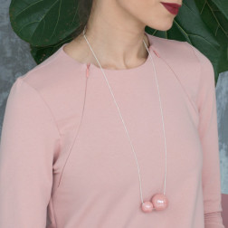 Female stylish elegant ceramic pendant on a luxurious chain MADEIRA pale rose