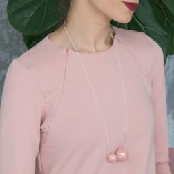 Female stylish elegant ceramic pendant on a luxurious chain MADEIRA pale rose