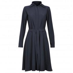 Dotted female dress MARSEILLE dark blue with hidden zipper and belt